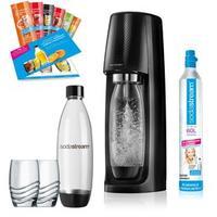 Sodastream Easy schwarz + 2 PET-Flaschen + 2 Gläser