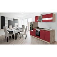 Respekta Küchenzeile Eiche Sonoma Sägerau 280 cm rot