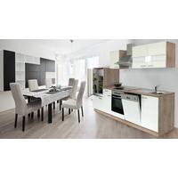 Respekta Küchenzeile Eiche Sonoma Sägerau 280 cm weiß