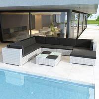 VidaXL Polyrattan Lounge-Set mit Auflagen 8-tlg. weiß 41265