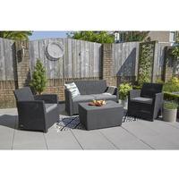VidaXL Polyrattan Lounge-Set mit Auflagen 8-tlg. schwarz 42897