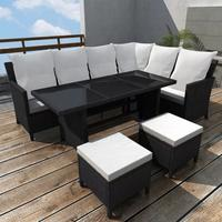 VidaXL Polyrattan Lounge-Set mit Auflagen 4-tlg. schwarz 43096