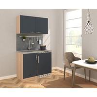Respekta Küche Miniküche Küchenzeile Küchenblock 100 cm grau