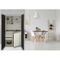 Respekta Schrankküche Küche Miniküche mit Kochplatten und Kühlschrank schwarz