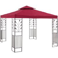 Uniprodo Gartenpavillon Rankenmotiv 3 x 3 m weinrot