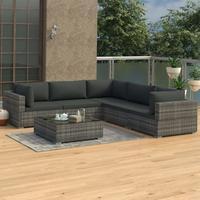 VidaXL Polyrattan Lounge-Set mit Auflagen 6-tlg. grau 46771