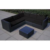 Baidani Rattan Garten Lounge Surprise Select integrierter Stauraum schwarz/schwarz