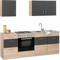 Respekta Küchenzeile Economy Buche 270 cm grau