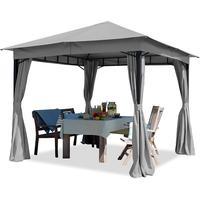 TOOLPORT Gartenpavillon 3x3m Polyester mit PU-Beschichtung 180 g/m2 stone